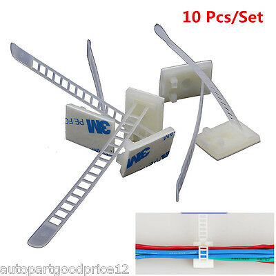 10 Pcs 3M Self-Adhesive Adjustable Clips Fastens Cable Wire Tie Clamp Organizer