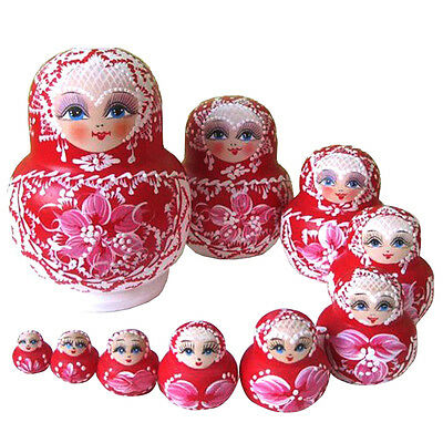 10 pcs/set Pink Flower Wooden Collectibles Russian Nesting Dolls Dried basswood