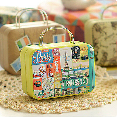 Vintage Suitcase Shape Candy Storage Jar Tin Box Home Decoration Christmas Gift