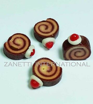 Set of 4 Dollhouse Miniature Chocolate Roll Cakes * Doll Mini Sweet Food Bakery