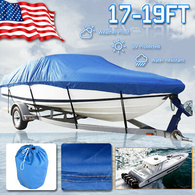 "17-19ft 600D Trailerable Boat Cover Waterproof Heavy Duty V-Hull 95"" Beam Blue"