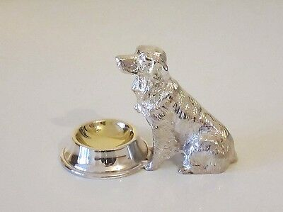 Fine Silver On Bronze Hunting Dog Statue - Desk Tidy Paperclip & Stamp Tray