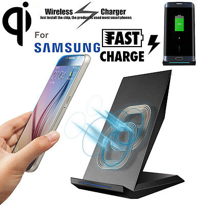 2 Coils Qi Wireless Fast Charger Charging Pad Dock Stand Holder For Smartphone
