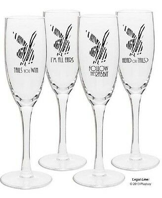 Playboy Heads & Tails Set of 4 Champagne Glasses.