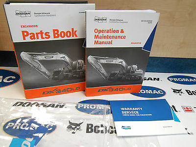 Doosan Dx340Lc Excavator. Operators Manual / Parts Catalogue / Service Book Pack