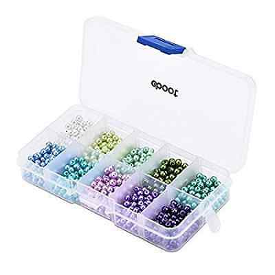 1000 Pieces 4mm Glass Pearl Round Beads Mix Colors with Box for Jewelry Making
