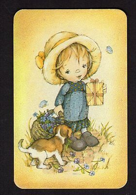 70's LEE Swap Card - Cute Girl with Gift & Puppy  (BLANK BACK)