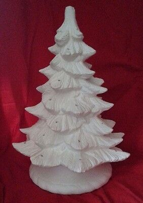 "Ceramic Bisque Christmas Tree and stand. 16""/410mm approx. Paint your own"