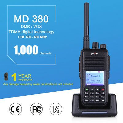 TYT MD-380 UHF DMR Digital Two Way Radio Walkie Talkie+Programming Cable/Antenna
