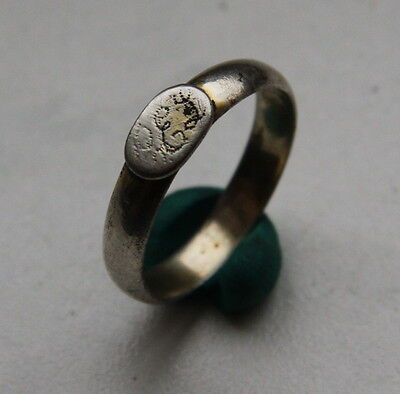 Antique Old Silver Finger Rings With Initials (Size 10,5 USA)