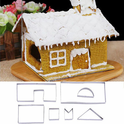 3D Christmas Gingerbread House DIY Mold 7Pcs Cookie Cutter Set Biscuit Cake Mold