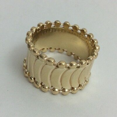 14K Yellow Gold 12Mm Wide Band Ring Size 6.75