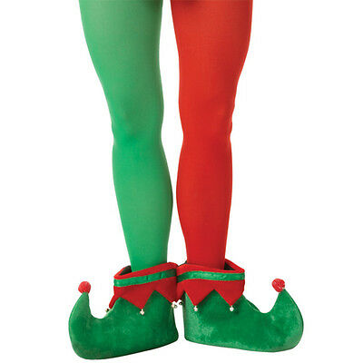 Adults Christmas Santa's Helper Red & Green Elf Fancy Dress Party Tights