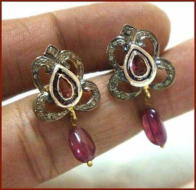 0.64 Ct Natural Rose Cut Diamond Ruby Silver antique Victorian Earrings