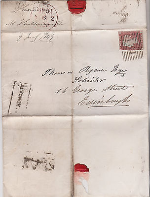 1849 QV EDINBURGH WRAPPER WITH 1d RED IMPERF STAMP & RARITY CANONGATE NAME-STAMP