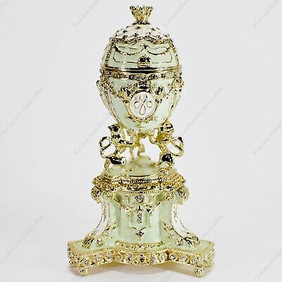 5'' Royal Danish Easter Enameled Egg Trinket Box Russian Traditions Of Faberge