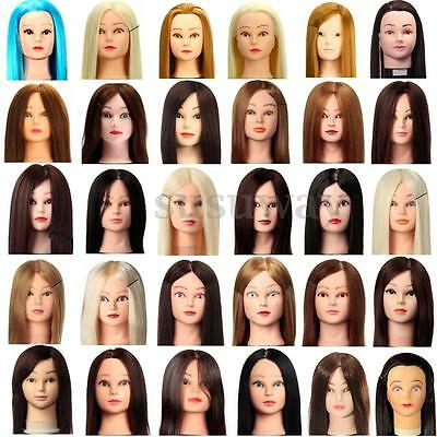Hairdressing Practice Training Model Head Long Human Hair Mannequin + Clamp AU