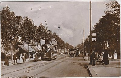 Postcard. Middlesex, High Road,, Chiswick, Street Scene Steam Traction Engine .