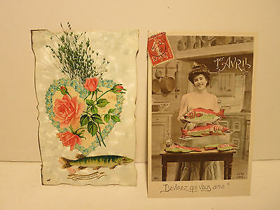 Anciennes Cartes Postales.poisson D'avril.annee1900