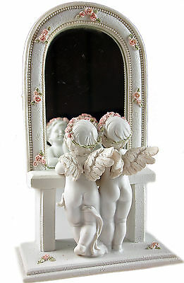 Rose Tinted Reflections - Cherubs Looking Through Flower Bud Mirror Ornament