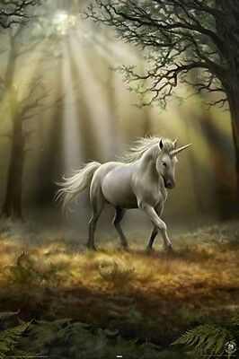 """Anne Stokes Poster """"glimpse Of A Unicorn"""" Licensed """"brand New"""""""