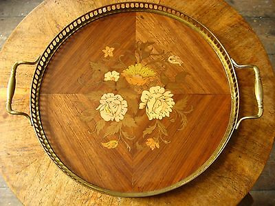 Vintage Italian Sorrento Floral Marquetry Inlaid Wood Brass Round Serving Tray