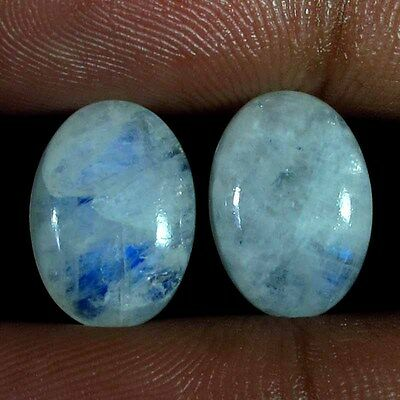 10.05 Cts. 100% Natural Rainbow Moonstone Oval Pair Cabochon Gemstones