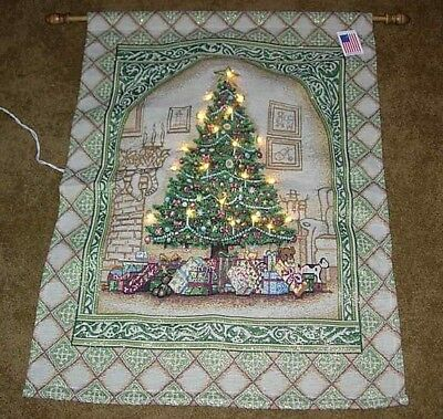 Christmas Elegance ~ Holiday Tree Lighted Tapestry Wall Hanging