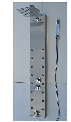 Stainless Steel Thermostatic Shower Tower Panel, Square Heads, 16 Body Jets 075