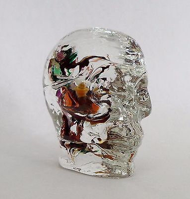 Superb Alum Bay Glass Isle Of Wight Skull Paperweight
