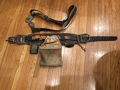 Vintage Pole Climbing Belt Buckingham Bell System Date 11-78 Sz Small and Strap