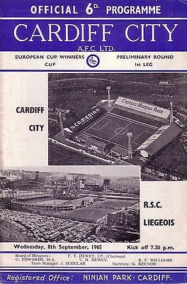 CARDIFF v LIEGEOIS 1965/66 CUP WINNERS CUP