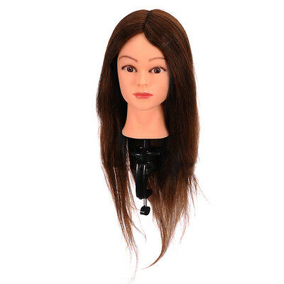 100% Real Human Hair Hairdressing Training Head Practice Mannequin and Clamp New