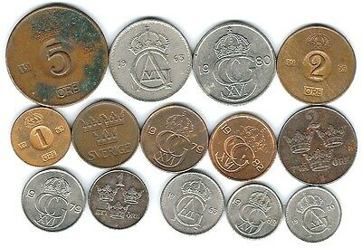 14 different world coins from SWEDEN