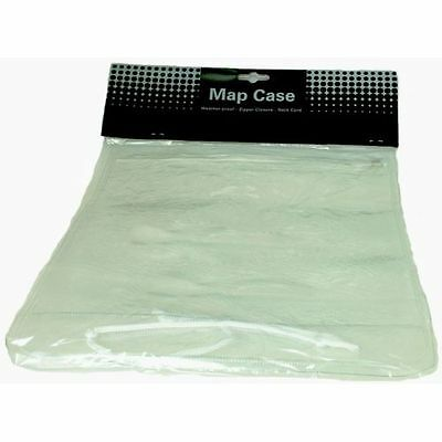 Map Case High Quality Fully Transparent Waterproof Zip Closure Neck Cord - BNIP!