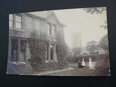 Real Photo RP Postcard - The Old Vicarage Syston Leicestershire - showing Vicar
