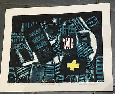"""ALISTAIR GRANT 1925-97 Artists Proof ETCHING """"Agincourt ii"""" 1965 edition of 50"""