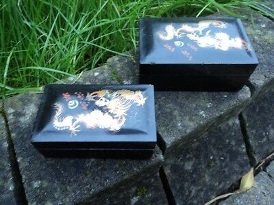 Two Early Twentieth Century Japanese, Hand-Decorated, Nested Lacquered Boxes.