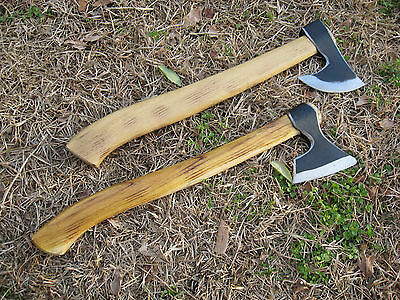 Set Two Forged Bearded Throwing Axe Viking Tomahawk Hatchet Camping Hunting Tool