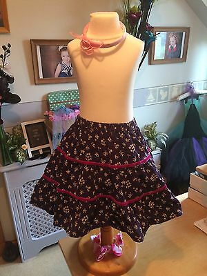 Beautiful Mini Boden Girls Pretty Flower Cord Skirt Age 5-6 Years Exec Cond