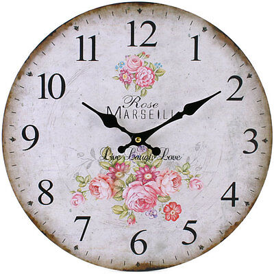 Vintage French Style Shabby Chic Floral Rose Wall Clock - NEW IN BOX