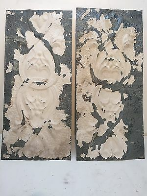 "2 - 24"" x 11"" Antique Ceiling Tin Tile Vintage Reclaimed Salvage Re Purpose Art"