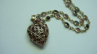 Vintage Natural Sapphire & Ruby Heart Pendant & Matching 16 Inch Chain In Gold