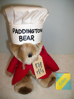 "NOS!  1981 Paddington Bear 11"" Plush Toy Eden (Chef Hat/Red Coat) w/TAGS!"