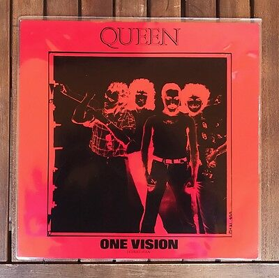 Queen - One Vision ltd red with pvc sleeve12'' vinyl UK