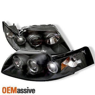 Fits Black 99-04 Ford Mustang Dual Halo Projector Headlights Lamp Left+Right Set