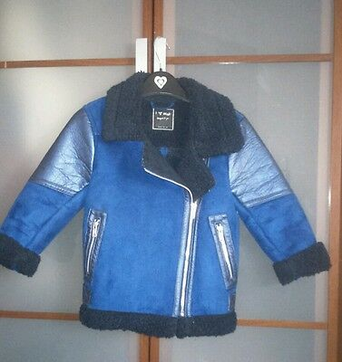 Next dark blue, faux sheepskin warm jacket, 5-6 years