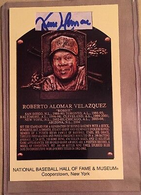 Roberto Alomar Signed Custom Cut Plaque Postcard Hall Of Fame