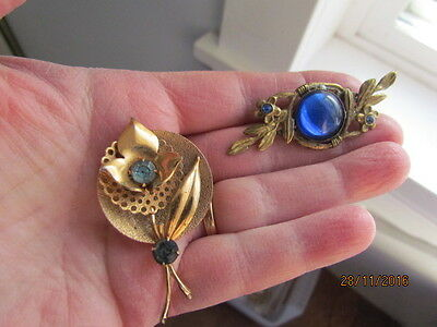 Antique Victorian Deco Brass & Blue Glass & Turquoise Rhinestone Brooches