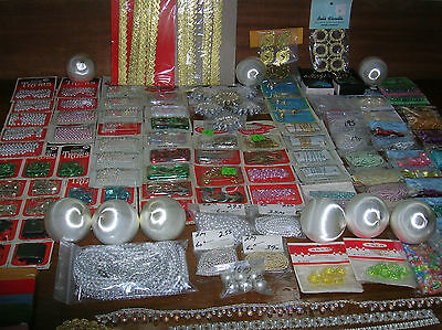 Huge Lot Vintage Beaded Ornament Craft Supplies ~ Nos ~ Way Over 100 Packages!